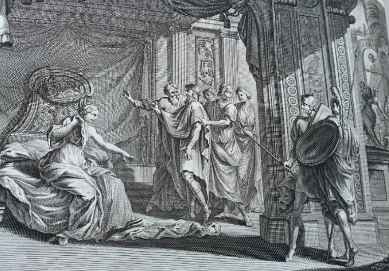 יוסף ואשת פוטיפר, תחריט מתוך תנך מורטייר 1700